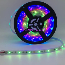 5m/roll DC12V SMD5050 RGB led tape addressable Flexible Digital Ribbon 30led/m external IC ws2811 led pixel strip light