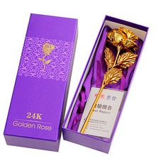1PC New Arrival Romantic  24k Gold Foil Plated Artificial Golden Rose Valentine Love Gift  Wedding Decoration