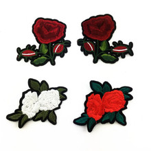 Free shipping women girl clothes 8cm rose flower patches logo fashion embroidery patch for clothing patchwork fabric DIY(China)