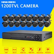 16 channel security 1200TVL video surveillance outdoor camera kit 16ch AHD CCTV DVR recording HDMI 1080P CCTV system