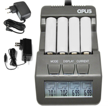 4 Slots Opus BT-C700 NiCd NiMh LCD Digital Intelligent AAA AA Battery Charger EU US Adapter