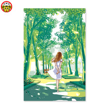 Digital painting manual coloring decoration paintings own color summer green girl heart cartoon gift(China)