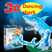 72set/lot Educational toys Sea world DIY assembly 3D origami Electric dancing shark model Student science circuit toy kids gift