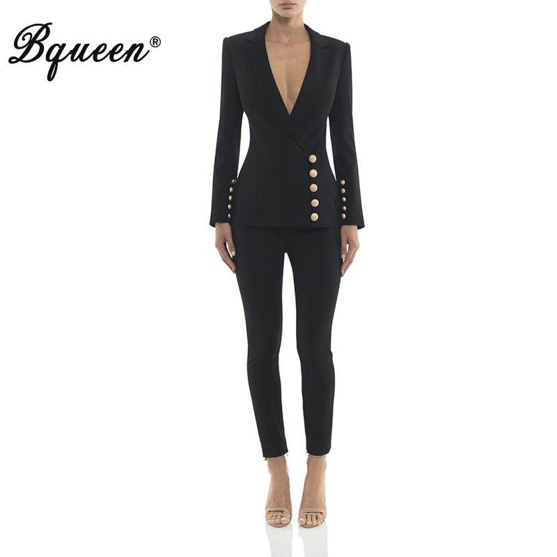 Bqueen  Office Ladies Full Sleeve Deep V Neck Women Tank Top Bodycon Split Button Women Pants 2 Piece Sets 2019 New Arrival