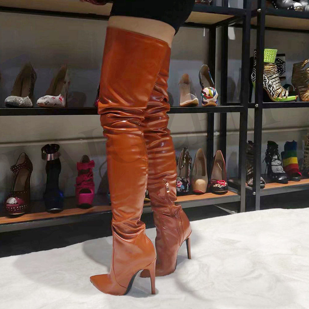 LAIGZEM SEXY Women Over the Knee Boots Stiletto High Heels Pointy Toe Boots Zipper Shoes Woman Botines Mujer Big Size 4-14 (2)