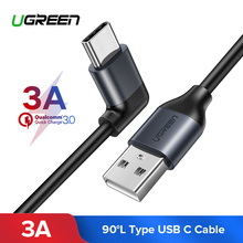 Ugreen 3A USB Type C 90 Degree USB Cable Samsung Galaxy S9 plus Nokia 8 Xiaomi Mi 8 6 MAX 3 USB C Fast Charging Data Cable