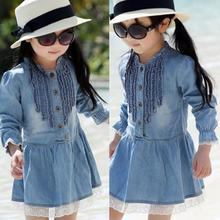 Toddler Kids Baby Girls Long Sleeve Denim Dress Lace Flower Hem Jeans One-piece Dresses Freeshipping Hot Sale