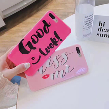 Cute IMD Glossy letter Case For iPhone 7 6 6S Plus Pink Rose Soft Silicone Back cover For iPhone 6 7 6S Fundas Coque Girls women