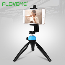 FLOVEME Universal Tripod Camera Phone Holder For iPhone 8 X 7 6 Plus Digital Camera Portable Rotating Table Phone Holder Stand