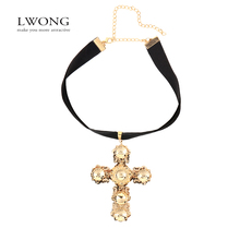 LWONG Chunky Style Black Velvet Choker With Big Cross Pendant Women Maxi Necklace Gold Color Cross Chokers Collar Collier 2016