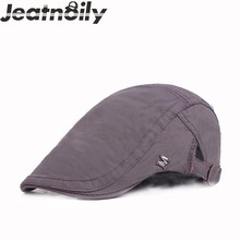 2017 New Fashion Spring Autumn Vintage Simple Solid Unisex Solid Color Cotton letter Berets Leisure Hat For Women Men(China)