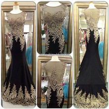 Long Formal Dresses Black Gold Lace Mermaid Prom Gown Real Sample Dress Party Evening Elegant 2015 Vestido de Festa Abendkleider(China)