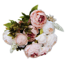 PHFU 1Bouquet 8 Heads Artificial Peony Silk Flower Leaf Home Wedding Party Decor Light pink