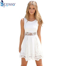 Buy 2018 Fashion Women Clothing Summer Lace Dress Femal Hollow Mini White Dress Loose Casual Sexy Party Dress Plus Size S- 6XL for $4.70 in AliExpress store