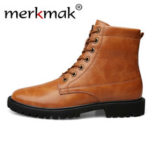 Merkmak Genuine Leather Men Ankle Boots Warm Men Metal Design 야외 캐주얼 마틴 Boot 큰 Size 49 50 Autumn Winter man Shoes(China)
