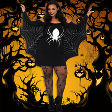 Women XXXL Plus Size Cosplay Costume Spider Webbing Print Off Shoulder Wings Sexy Fancy Holiday Dress Big Size Adult Costume(China)