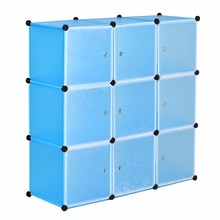9 Cubes Storage Cupboard Shoe Rack Shelf Book Clothes Toys Wardrobe Shelves Organizer Blue