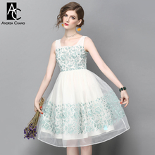 spring summer runway designer womans dress white organza gauze ball gown green flower embroidery square collar knee length dress
