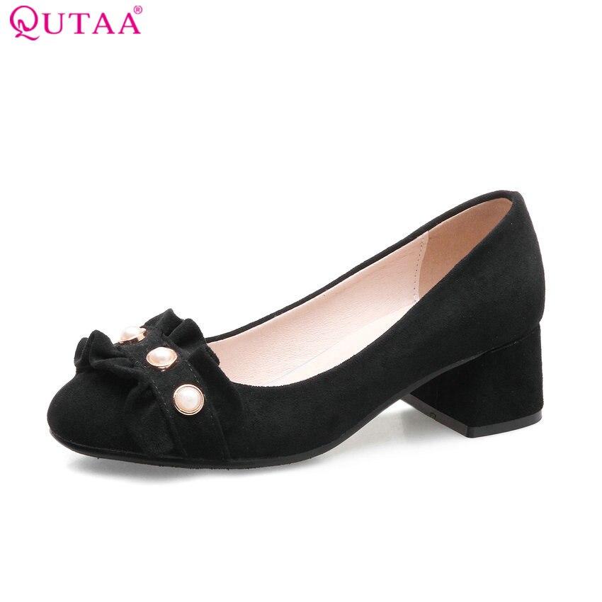 QUTAA 2018 Women Pumps Round Toe Square Heel Women Shoes Sweet Style Leisure Scrub Platform All Match Ladies Pumps Szie 34-43<br>