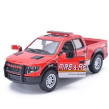 New 1:46 Ford F150 Raptor Off-road Pickup Truck Police Fire Rescue Alloy Car Model Toy Pull Back For Baby Gifts Free Shipping(China)