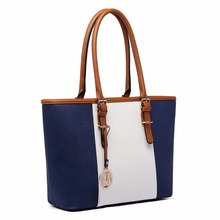 Miss Lulu New Fashion Women Designer M Metal PU Leather Handbag Shoulder Tote Bag Navy E1661