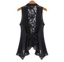 2017 big yards chiffon vest In the long section Chiffon Lace Vest Jacket STAND COLLAR ASYMMETRIC HEM CHIFFON VEST tops S-XXXXXL