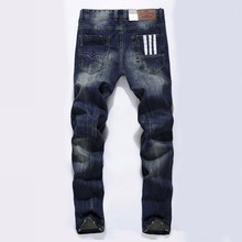 Famous Brand Fashion Designer Jeans Men Straight Dark Blue Color Printed Mens Jeans Ripped Jeans,100% Cotton(China)