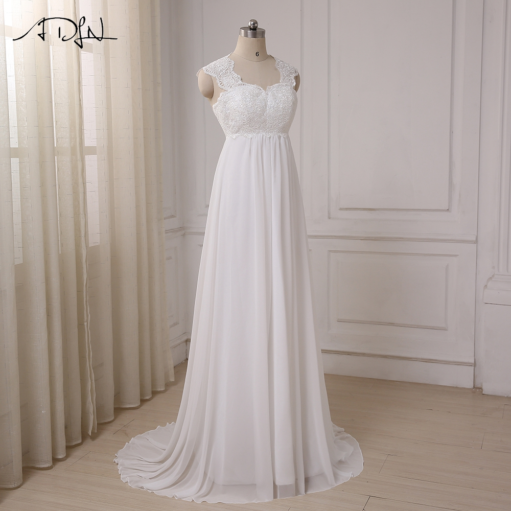 ADLN 2017 In Stock Chiffon Beach Wedding Dresses Vestido De Noiva Cap Sleeve Empire Lace-up Back Pregnant Bridal dress 7