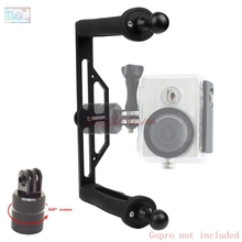 Metal Waterproof Handheld Stabilizer Handle Bracket Grip + 360 Degree Mount Adapter for GoPro 5 4 3+ Xiaomi Yi 4K SJCAM SJ4000(China)
