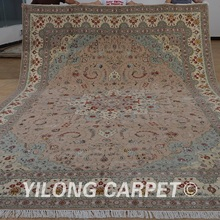Yilong 10'x14' Turkish wool rug manufacturers handmade exquisite pink wool carpet suppliers (1494)