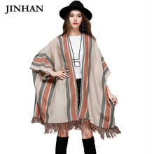 JINHAN 2017 Open Stitch Female Cardigans Winter Tassels Batwing Knitted Long Cardigan Free Size Women Oversized Sweater JHS811(China)