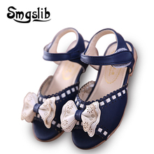Little Girls sandals Summer Kids Shoes Bowknot PU Leather Soft Flat Shoe Sole Baby sandals girls 2016 Toddlers Children Shoe(China)