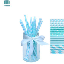 100pcs/lot  sky blue color dots striped  waves Paper Drinking Straws Drinking Tubes Party Supplies Decoration Baby shower