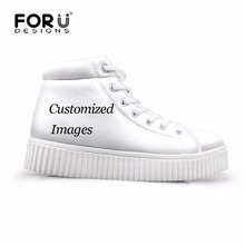 FORUDESIGNS Custom Images or Logo Women Casual Shoes Classic High Top Platform Shoes Woman Height Increasing Flats Female 2017