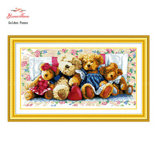 Golden Panno,Needlework,Embroidery,DIY Animal Painting,Cross stitch,kits,11ct bears home Cross-stitch,Sets For Embroidery(China)