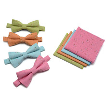 New Hot Fashion Men's Bow tie Hanky Sets Bowtie for Men Pocket Square Wedding Groom Butterfly tie Towel Candy Ice Cream Color(China)
