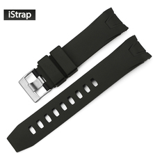 iStrap 22mm Black Rubber Watch Band Curved end Watch Strap Replacement Watchband for Omega Seamaster Planet Ocean(China)