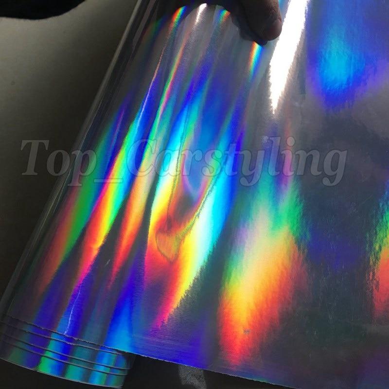 silver holographic chrome hologram black car wrap foil apa cast vinyl rainbow chameleon (7) -