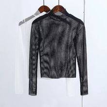 2017 fashion Black white Fishnet Shirt Women Long Sleeve Fishnet Top