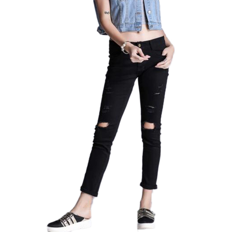 New White Black Women Jeans Ripped Holes Fashion Straight High Waist Famale Washed Denim Pants Cotton TrousersОдежда и ак�е��уары<br><br><br>Aliexpress