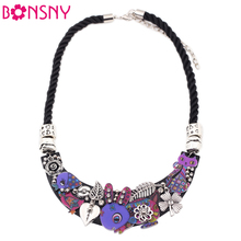 Bonsny Rabbit Birds Cat Collar Necklace Acrylic Pattern Statement  Choker Necklace Fashion Brand Jewelry For Women Girls