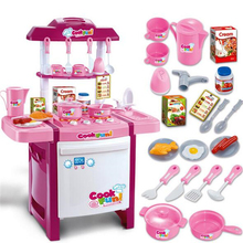 Simulation Girls Cooks Kitchen Pretend Playset with Sound Light for Children Kids Plastic Educational Toys Cosplay Game Gift