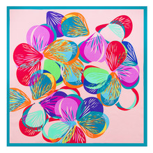 60cm*60cm 2017 Luxury Brand Hand Painting Geometric Butterfly Print Women Twill 100% Silk Scarf Small Square Scarves Headband