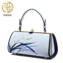 PMSIX New Designer Crossbody bag cowskin leather Fashion Embroidering Art Women Hansbags Fresh Shoulder bags Light Blue P120117(China)