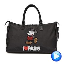 Hot Sale Designer Metal Sequins Mickey Gym Fitness Sports Bag Shoulder Crossbody Bag Female Tote Handbag Travel Duffle Bolsa(China)