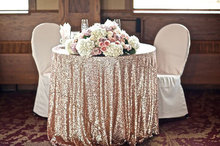 108'' Round Champagne Sequin Tablecloth Table Overlay For Wedding Beautiful Table Overlay Christmas Decoration(China)