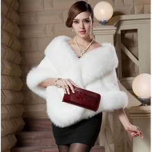 Women's Bat Sleeve Faux Fur Gilet Rabbit Fur Cape Cloak Women Mink Fur Poncho Vogue Fox Fur Coat Vest Bridal Wedding Dress Shawl