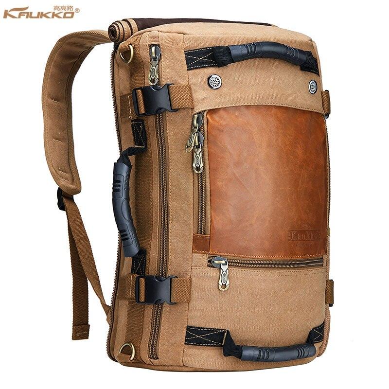 Kaukko Men backpack Canvas Large Capacity 15.6 Inch Laptop Travel School Shoulder Computer Backpacking Versatile Bags Bag<br>