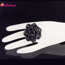 AOLOSHOW 3 piece/lot Fashion Ring for Women bohemian black seed beads flower shaped elastic beaded handmade rings RN258
