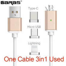 GARAS USB Type C/IOS/Micro USB 3IN1 Magnetic Cable Type-C USB-C Fast Charger Adapter Magnet Cable For IPhone Mobile Phone Cables(China)